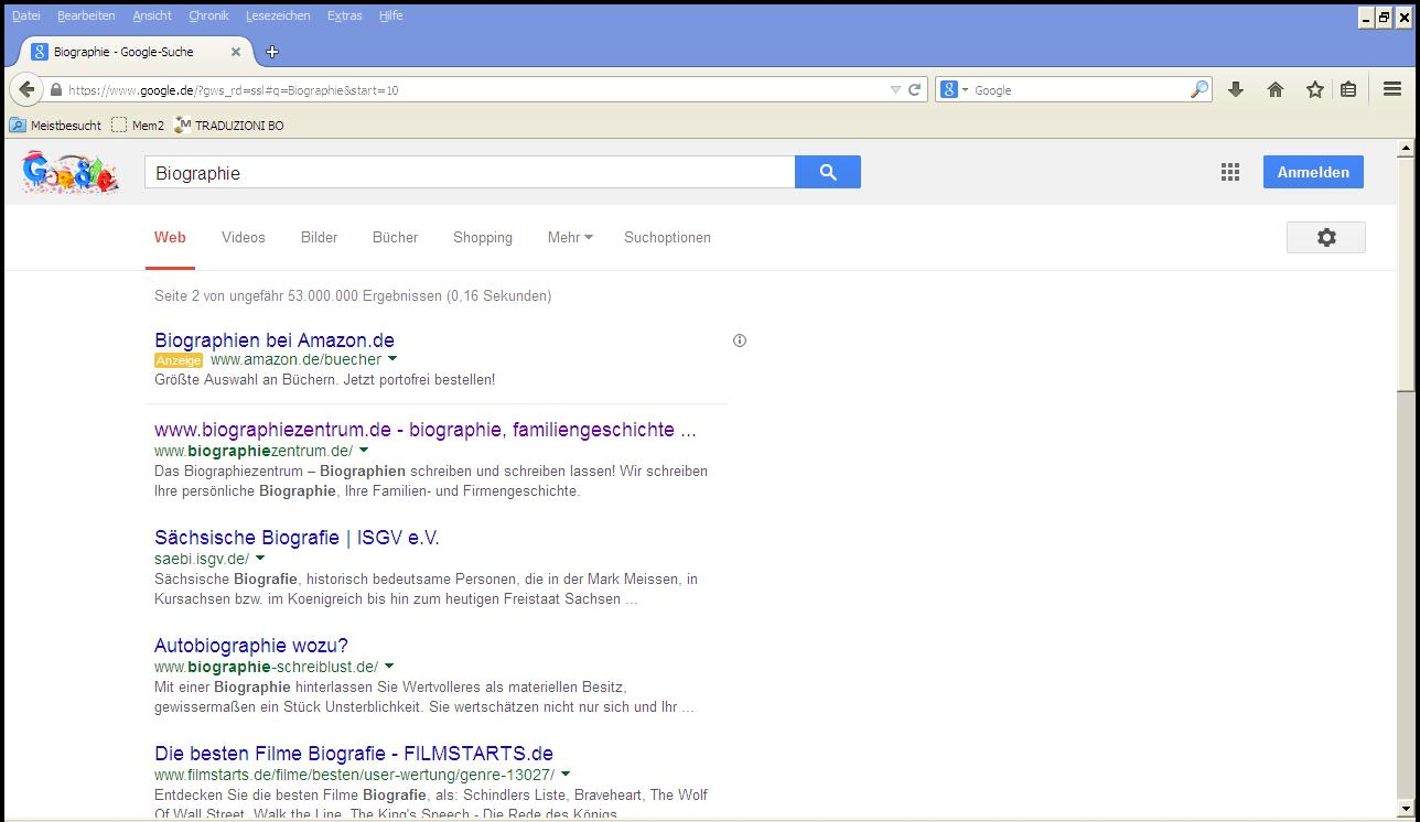 Biographiezentrum bei Google